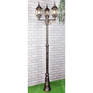 уличный трехрожковый светильник на столбе NLG99HL005 черное золото
