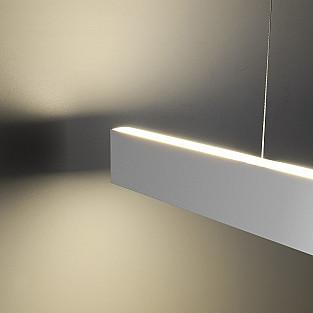 Линейный светодиодный подвесной двусторонний светильник 128см 50Вт 3000К матовое серебро LSG-01-2-8*128-3000-MS