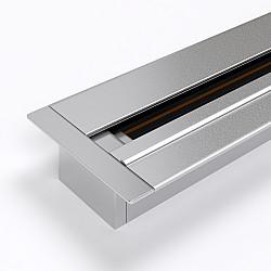 Встраиваемый однофазный шинопровод 1 метр серебристый (с вводом питания и заглушкой) TRLM-1-100-CH