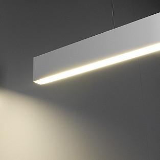 Линейный светодиодный подвесной односторонний светильник 128см 25Вт 6500К матовое серебро LSG-01-1-8*128-6500-MS