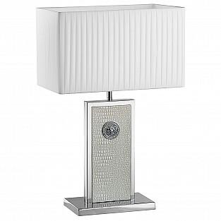870936 (PD3088-WH) Настольная лампа FARAONE 1х60W E27 КОЖА/БЕЛЫЙ/ХРОМ (в комплекте)