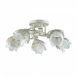 3002/5C LN16 192 белый/зол. патина/метал. декор/хрусталь Люстра потолочная E14 5*40W 220V FLORANA