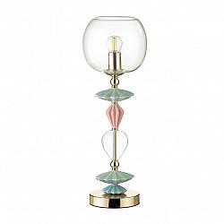 4855/1T CLASSIC ODL_EX21 золото/раноцветн./керамика/стекло Настольная лампа E14 1*40W BIZET