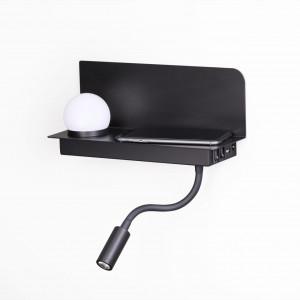 4202/6WL ODL20 241 черный/металл Настенный светильник с USB и беспроводн. зарядкой LED 3W + 3W SMAR