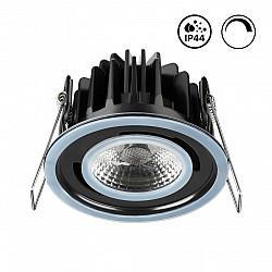 358342 NT19 000 черный Встраиваемый влагозащищённый диммируемый светильник IP44 LED 3000К 8W 220-240