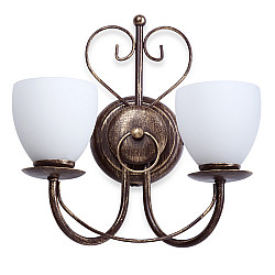 Светильник настенный V1369/2A, 2xE14 макс. 60Вт матовый коричневый с золотом Vitaluce