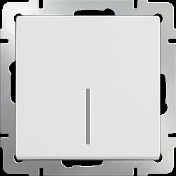 Выключатель одноклавишный проходной с подсветкой (белый) WL01-SW-1G-2W-LED