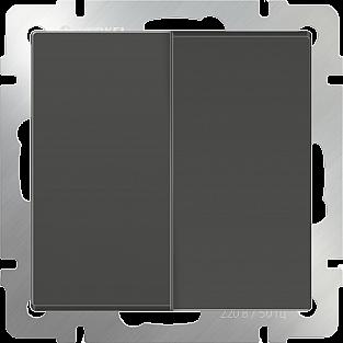 Выключатель двухклавишный проходной (серо-коричневый) WL07-SW-2G-2W