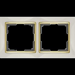Рамка на 2 поста (слоновая кость/золото) WL03-Frame-02-ivory-GD