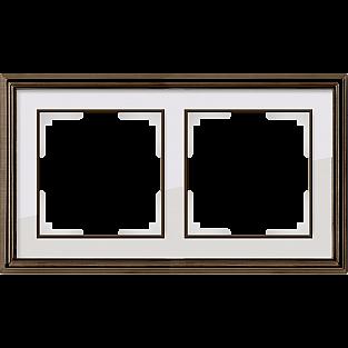 Рамка на 2 поста (бронза/белый) WL17-Frame-02