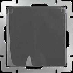 Розетка влагозащ. с зазем. с защит. крышкой и шторками (серо-коричневый) WL07-SKGSC-01-IP44
