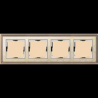 Рамка на 4 поста (золото/белый) WL77-Frame-04