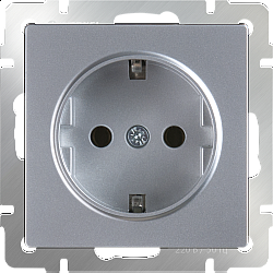 Розетка с заземлением (серебряный) WL06-SKG-01-IP20