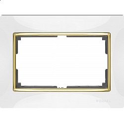 Рамка для двойной розетки (белый/золото) WL03-Frame-01-DBL-white-GD