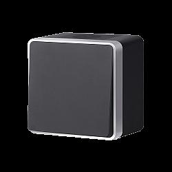Выключатель одноклавишный влагозащищенный Gallant (черный с серебром) WL15-01-02