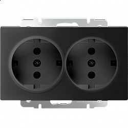 Розетка двойная с заземлением (черный матовый) WL08-SKG-02-IP20