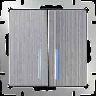 Выключатель двухклавишный проходной с подсветкой (глянцевый никель) WL02-SW-2G-2W-LED