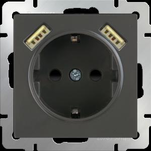 Розетка с заземлением, шторками и USBх2 (серо-коричневый) WL07-SKGS-USBx2-IP20