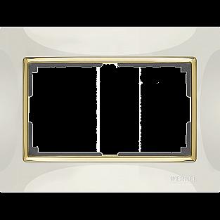 Рамка для двойной розетки (слоновая кость/золото) WL03-Frame-01-DBL-ivory-GD