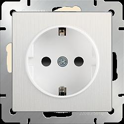 Розетка с заземлением и шторками (перламутровый рифленый) WL13-SKGS-01-IP44