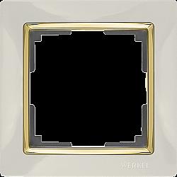Рамка на 1 пост (слоновая кость/золото) WL03-Frame-01-ivory-GD
