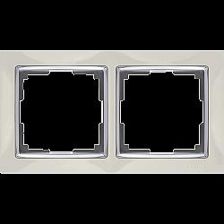 Рамка на 2 поста (слоновая кость) WL03-Frame-02-ivory