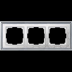 Рамка на 3 поста (хром/белый) WL77-Frame-03