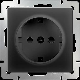 Розетка с заземлением и шторками (черный матовый) WL08-SKGS-01-IP44