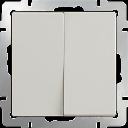 Выключатель двухклавишный проходной (слоновая кость) WL03-SW-2G-2W-ivory