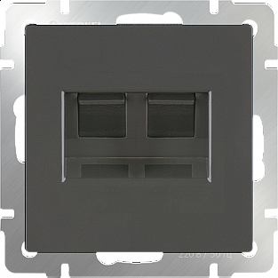 Розетка двойная Ethernet RJ-45 (серо-коричневый) WL07-RJ45+RJ45