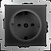 Розетка с заземлением, безвинтовой зажим (черный матовый) WL08-10-01