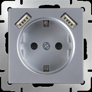 Розетка с заземлением, шторками и USBх2 (серебряный) WL06-SKGS-USBx2-IP20