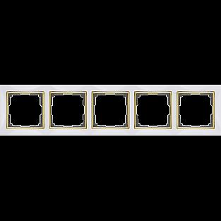 Рамка на 5 постов (белый/золото) WL03-Frame-05-white-GD
