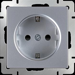 Розетка с заземлением, безвинтовой зажим (серебряный) WL06-10-01
