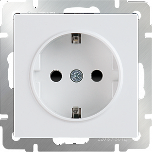 Розетка с заземлением и шторками (белая) WL01-SKGS-01-IP44