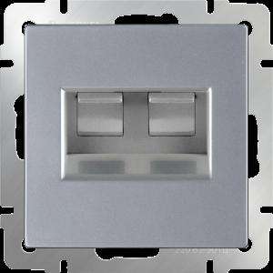 Розетка двойная Ethernet RJ-45 (серебряный) WL06-RJ45+RJ45