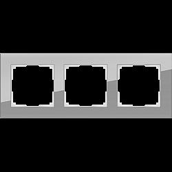 Рамка на 3 поста (серый,стекло) WL01-Frame-03