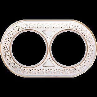 Рамка на 2 поста (белое золото) WL70-frame-02