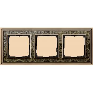 Рамка на 3 поста (золото/черный) WL77-Frame-03