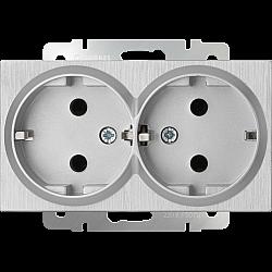 Розетка двойная с заземлением (серебряный рифленый) WL09-SKG-02-IP20