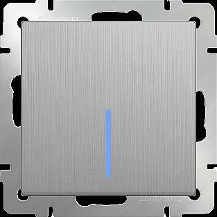 Выключатель одноклавишный с подсветкой (cеребряный рифленый) WL09-SW-1G-LED