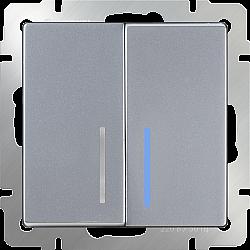 Выключатель двухклавишный с подсветкой (серебряный) WL06-SW-2G-LED