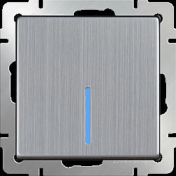 Выключатель одноклавишный с подсветкой (глянцевый никель) WL02-SW-1G-LED