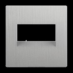 Накладка для двойной розетки Еthernet RJ-45 (серебряный рифленый) WL09-RJ45+RJ45-CP
