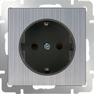 Розетка с заземлением и шторками (глянцевый никель) WL02-SKGS-01-IP44