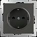 Розетка с заземлением и шторками (серо-коричневый) WL07-SKGS-01-IP44