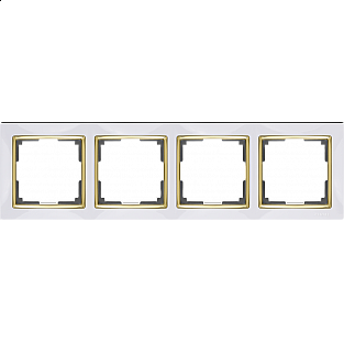 Рамка на 4 поста (белый/золото) WL03-Frame-04-white-GD