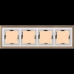 Рамка на 4 поста (золото/белый) WL17-Frame-04
