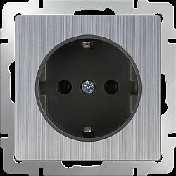 Розетка с заземлением (глянцевый никель) WL02-SKG-01-IP20