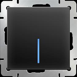 Выключатель одноклавишный с подсветкой (черный матовый) WL08-SW-1G-LED